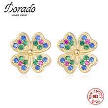 Dorado Cute Stud Earrings For Women 925 Sterling Silver Four-leaf Clover Colorful Zircon Trendy Luxury Brincos 2020 High Quality hot sell high quality four leaf clover stud earrings classic jewelry for women brincos shell two flowers stud earrings wholesale