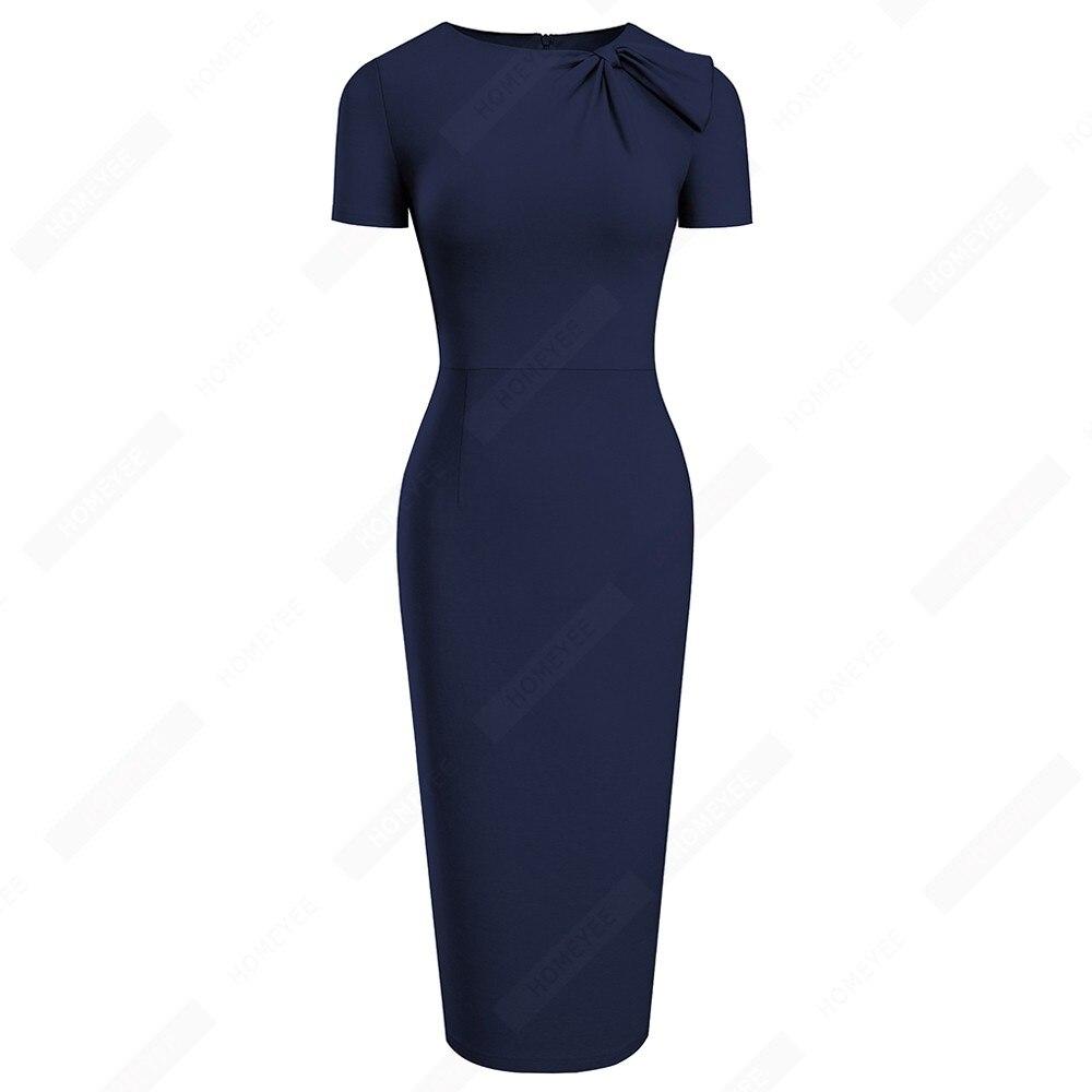 Women Brief Solid Color Classy Side Bow O Neck Fashion Slim Business Bodycon Pencil Dress EB622 2