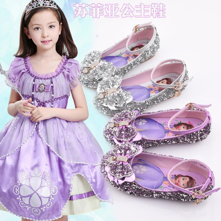 Children Glitter Sequined Sandals Girls Dance Shoes Flat Party Princess Sophia Shoes  22-33 286-2 GZX01