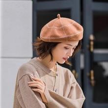 Beanie Hat Cap Plaid Beret Artist Wool Girl French Winter Women Warm S-Maqiao for Sweet