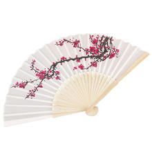 50 pcs/lot Plum flower design Elegant Folding Silk Hand Fan with Organza Gift bag Wedding Favor gift