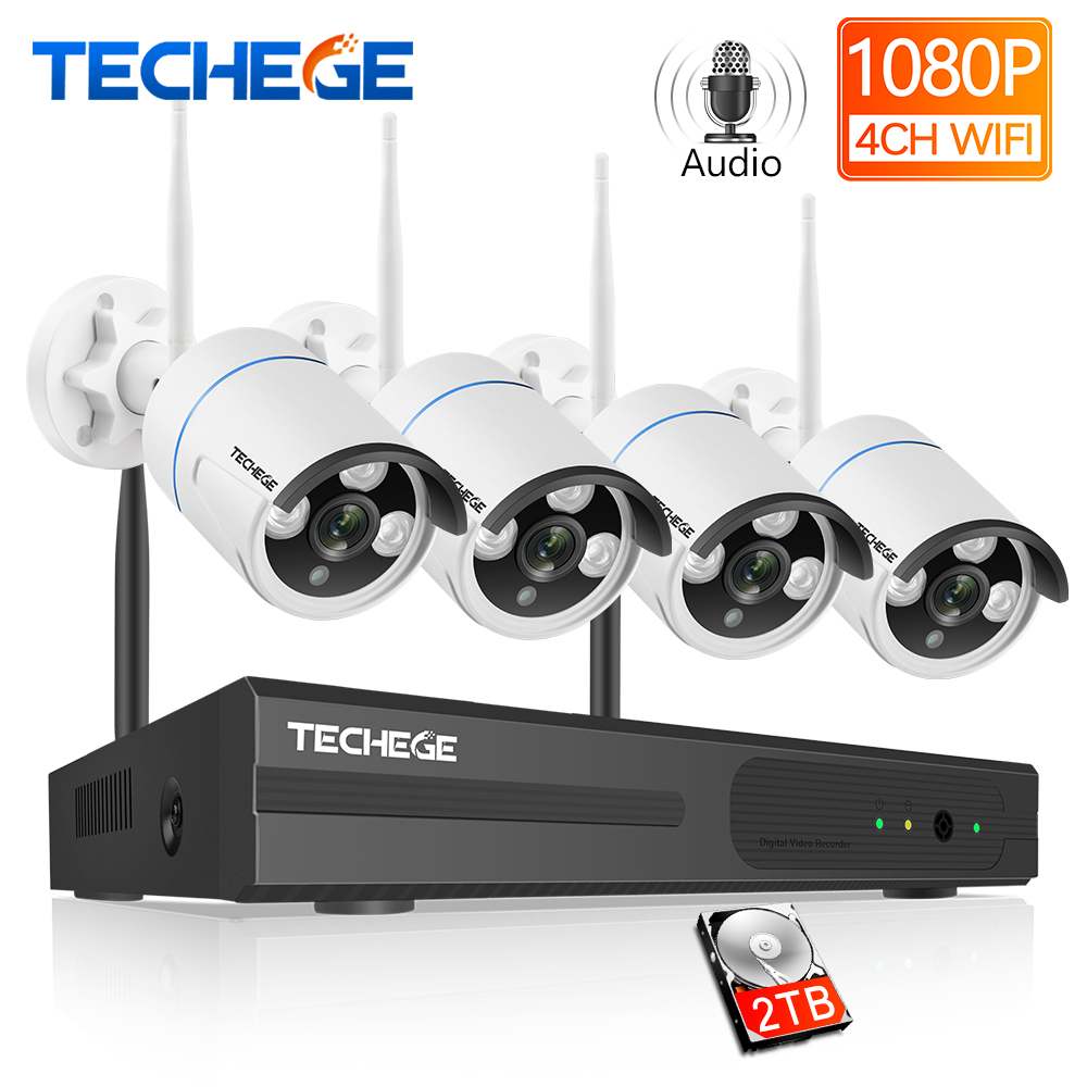 Techege 4CH Wireless CCTV System H.265 Audio Record 2MP 4CH NVR Kit Waterproof Outdoor Motion Detection Video Surveillance Kit