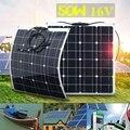 50W 16V гибкий портативный зарядное устройство солнечной панели портативные комплекты дома Двойной USB для телефона 12V батареи RV автомобиль рыб...