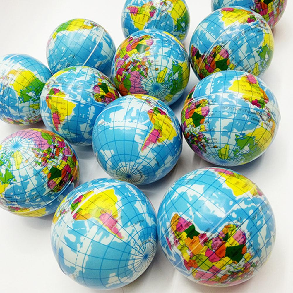 Funny Earth World Map Globe Stress Relief Squeeze Hand Therapy Bouncy Ball Toy