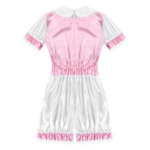 Image 4 - Hot Sexy Men Crossdressing Sissy Dress Silky Satin Short Puff Sleeves Lace Trim Romper Bodysuit Adult Baby Cross Dresser Costume