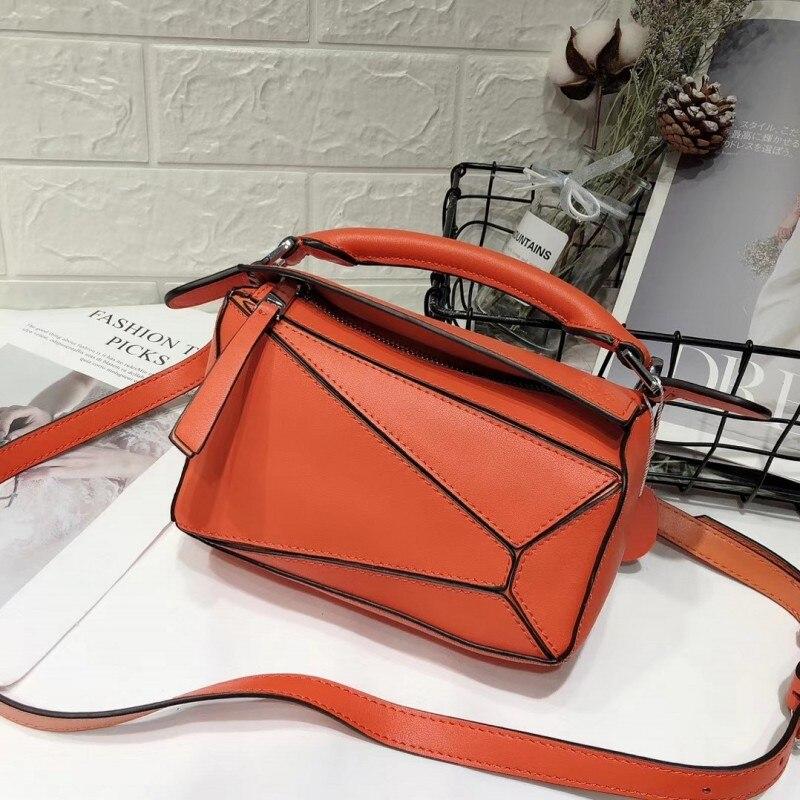 Bolso de mujer de marca con paneles de diseño Real de cuero de vaca suave bolso geométrico para mujer bolsos de hombro con correa larga bolsa de asas - 6