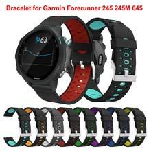 Para garmin forerunner 245 245m 645 pulseira de relógio inteligente esporte substituição 20mm two tone silicone pulseira de pulseira de pulseira