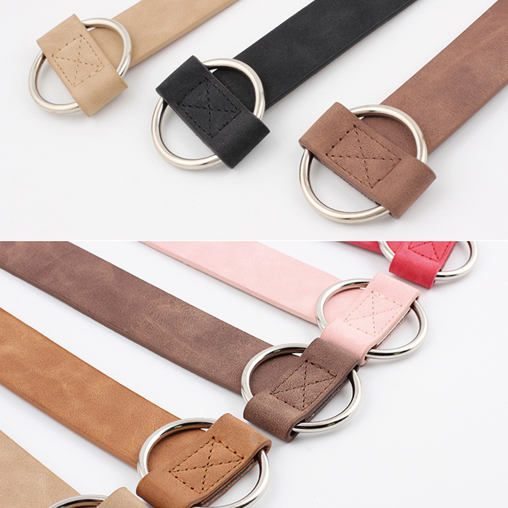 Women 3cm PU Leather Belt Round Buckle Belts Female Leisure Jeans Wild Without Pin Metal Buckle Solid Color