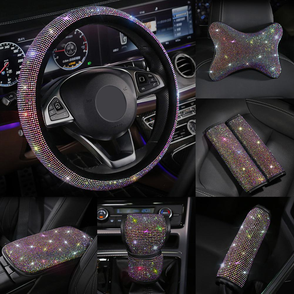 Case Steering-Wheel-Covers Auto-Accessories Gear-Shift-Cover Crystal Rhinestones Shining title=