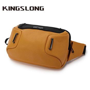 Kingslong body bag men sport chest bag outdoors waist bag slings Bags of men Shoulder Messenger PU Fashion running bag Men's bag