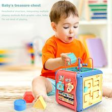Montessori Six-Sided Box Baby Toy Round Beads Clock Cognitio