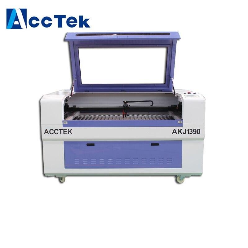 Machine laser CNC AccTek avec positionnement de la lumière rouge laser AKJ1390/CNC avec table en nid d'abeille pour tissu