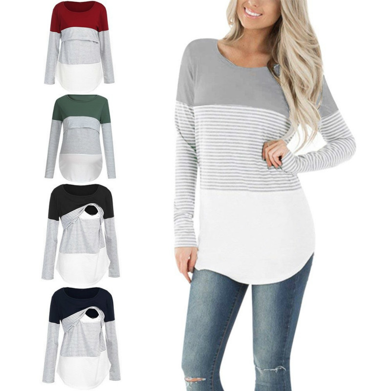 Breastfeeding Clothes Casual Striped Women Long Sleeve Maternity Tops Nursing Tops Ladies TShirt Pregnancy Loose Clothes T Shirt