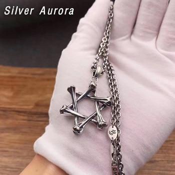2020  vintage Hexagonal star Skull Charm Pendant 100% 925 Sterling Silver Jewelry Men Women Necklace Pendant
