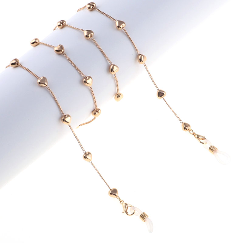 New Fashion Simple Gold Metal Heart Beads Reading Glasses Chain Eyeglass Cord Holder Lanyard Strap Rope