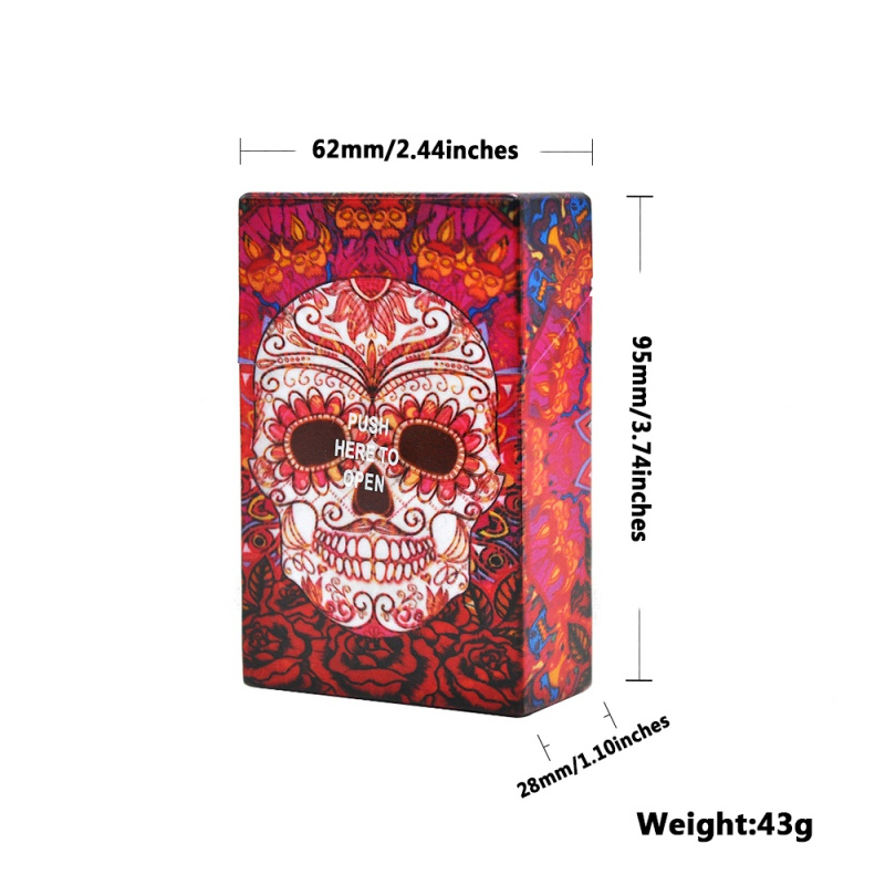 Fundas de plástico para cigarrillo portátil con diseño de calavera de lujo para 20 accesorios de cigarrillos caja de tabaco caja de encendedores de regalo para hombres y mujeres