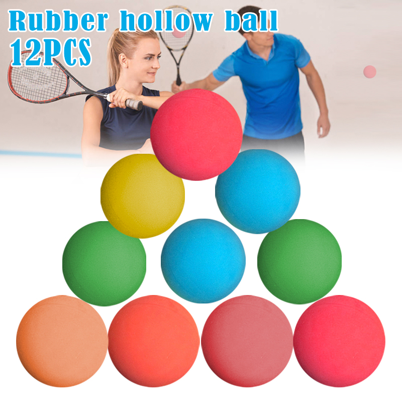 12 Pcs 5.5cm Racquetball Rubber Ball High Elasticity Training Ball For Game Practice American Standard Rubber Hollow Ball