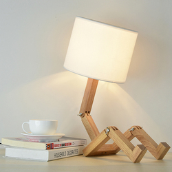 Nordycki współczesny E27 Robot lampa stołowa studium lampka do sypialni kreatywne solidne drewniane biurko lampa drewniana robota składana lampa biurkowa na