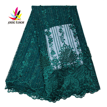Nigerian Embroidery Lace Fabric Bridal Nigeria French Flower Floral Bridal Pearl Beaded Guipure Mesh Tulle Embroidery Lace Dress