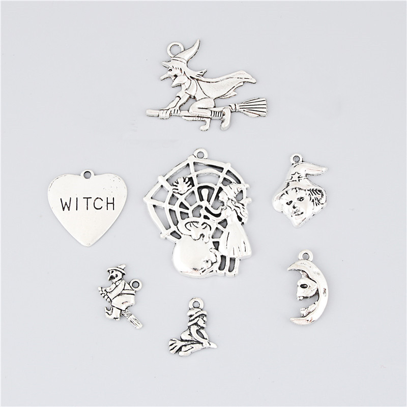 7pcs Mix Charms Witch Silver Color Pendant For DIY Making Necklace All Saints Day Jewelry Supplies