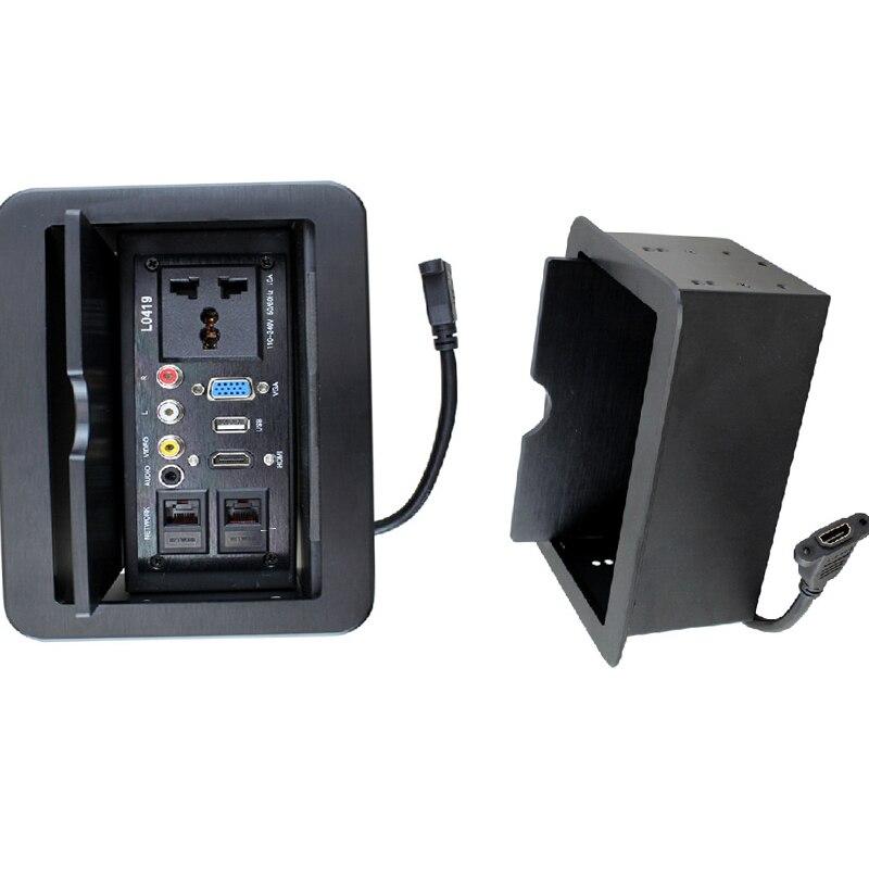 LD-0419 slide type Multimedia Desktop Socket Hidden Information Box USB Ports