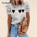 Женские элегантные футболки в стиле ретро с круглым вырезом и пышными рукавами, лето 2021, модные топы с рисунком, пуловеры, Женская Повседнев...
