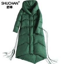 Shuchan Asymmetric Length Chinese Style Green Womens Down Jackets Thick Waterproof 90% White Duck Down Long Women Winter Coat цены онлайн