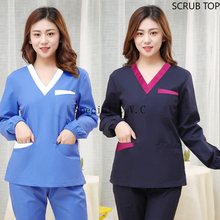 Women Fashion Scrub Top Long Sleeve Uniforms Winter V Neck Medical Uniforms Cotton Dentist Workwear Vet Scrubs Medical Clothes