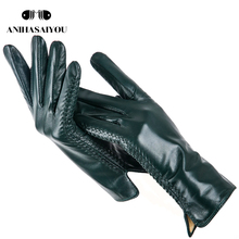 Simple leather gloves women colored genuine women #8217 s leather gloves women #8217 s genuine leather gloves sheepskin women #8217 s gloves #8211 DCB cheap anihasaiyou Adult striped Wrist Novelty Gloves Mittens