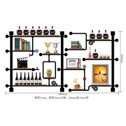 Bar di alta Qualità Della Cucina di Stoccaggio del Vino Titolare Scaffale Design Retrò Bookshelf/vino Display Cremagliera Fatta Di Tubi di Ferro, schede CF