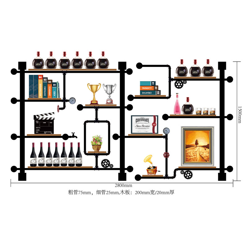 High Quality Bar Kitchen Wine Storage Shelf Holder Retro Design Bookshelf/wine Display Rack Made Of Iron Pipes,boards CF