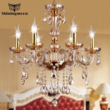 French Country Luxury Lustre Chandelier Lighting Golden Crystal  Hanging Lamp Bedroom Living Dining Decoration Lights