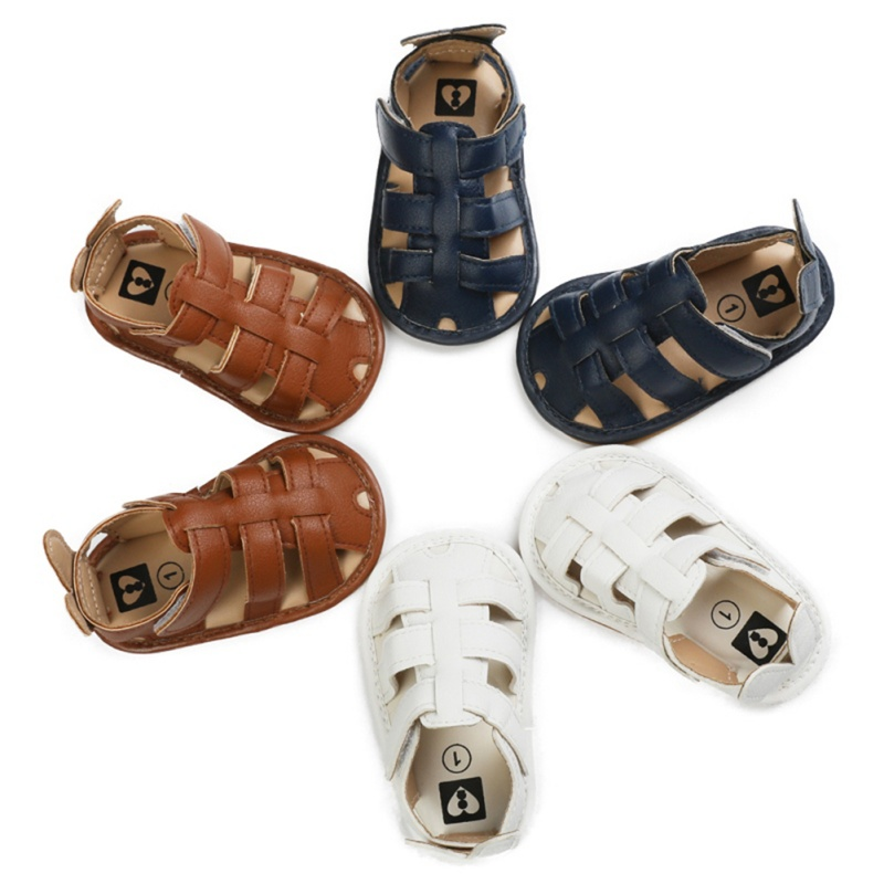 Hollow Baby Boy Sandals Clogs Summer Toddler Soft Sole Anti-Slip Shoes Baby Boy Sandals PU Shoes For 0-18M