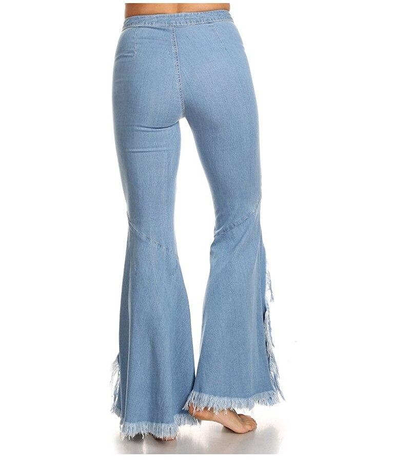 New 2020 Jeans Women Dark Blue Denim Flare Pants Female Sex Tassel Pants Women Stretch High Waist Women Jeans LX1830