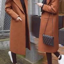 Jackets Outerwear Windbreaker Wool-Coat Trench Cashmere Female Black Korean Long Winter