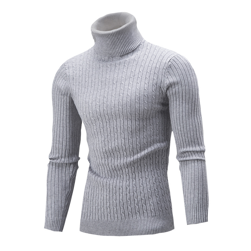 Men Tops Turtleneck Slim Autumn Winter Solid Color Long Sleeve Knitted Warm Jumper Pullover Sweaters Plus Size