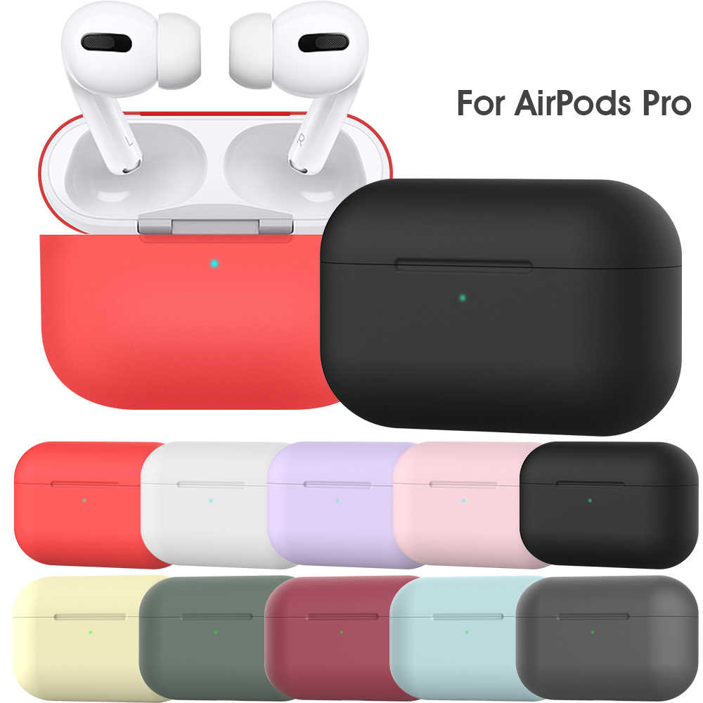 For Apple Airpods Pro 2019 Wireless Bluetooth Headphone Case Silicone Protective Earphone Skin Cover Charging Box Bag with Hook