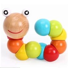 Five color Variety shilly insects caterpillar toy wooden doll animal finger dexterity exercises children's educational toys