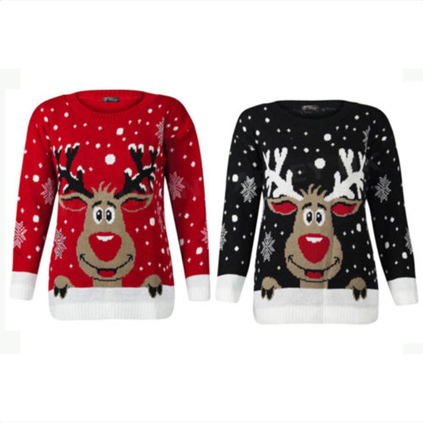 Plus Size 4xl Jumper Snowman Reindeer Sweaters Santa Claus Xmas Patterned Ugly Christmas Sweaters Tops For Men Women Pullovers