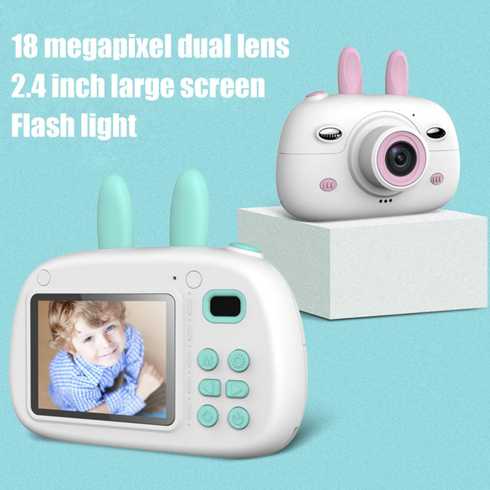Kids Mini Cartoon Rabbit 1800W HD Digital Camera Electronic Photo Video Photography Camcorder Camera Toys with 16G Memory Card image