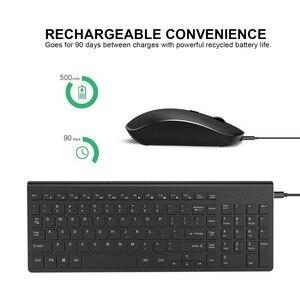 Image 2 - 2,4G Wiederaufladbare Wireless Tastatur Maus Combo Set Spanisch/Deutsch/Italienisch/UNS Tastatur und 2400 DPI Mäuse, für Computer PC Laptop