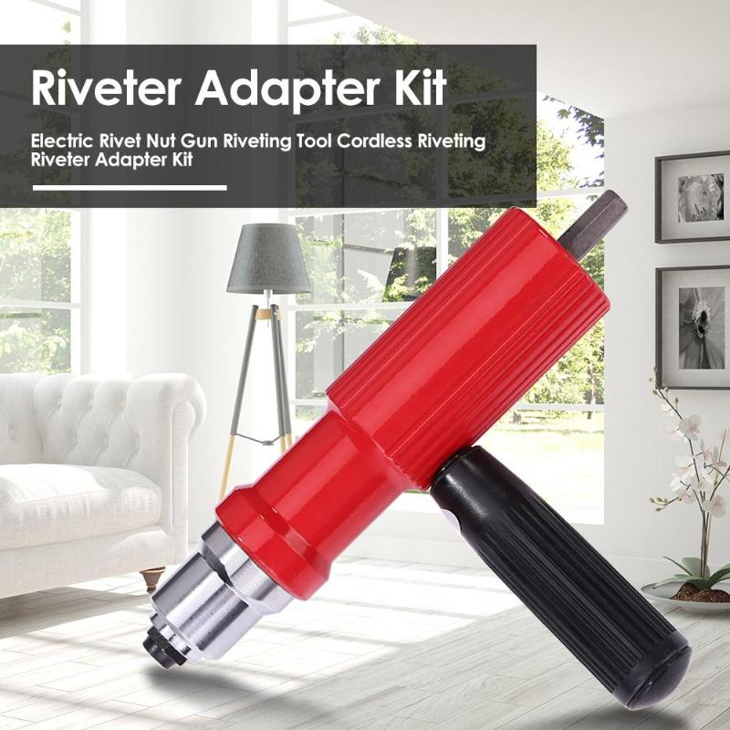 Electric Rivet Nut Gun Riveting Tool Cordless Riveting Riveter Adapter Kit Strong Bite Riveter Adapter Kit For Home Decoration