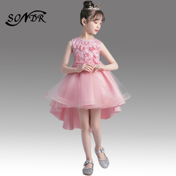 Appliques Communion Gowns HT017 High Low Length Kids Wedding Party Dresses Beading Flower Girl Dress Bow Formal Dress For Girls chaffare beading girls dress elegant kids party dresses for wedding formal tulle girl princess vestido pearls flower baby frocks