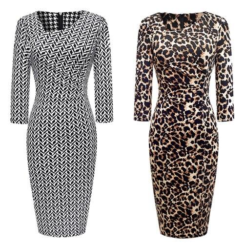 Vintage Women Elegant Leopard Dress