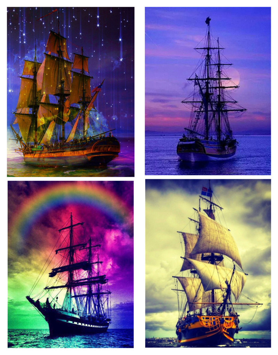 Fezrgea new products 5D DIY diamond painting boat landscape cross stitch home decoration gift