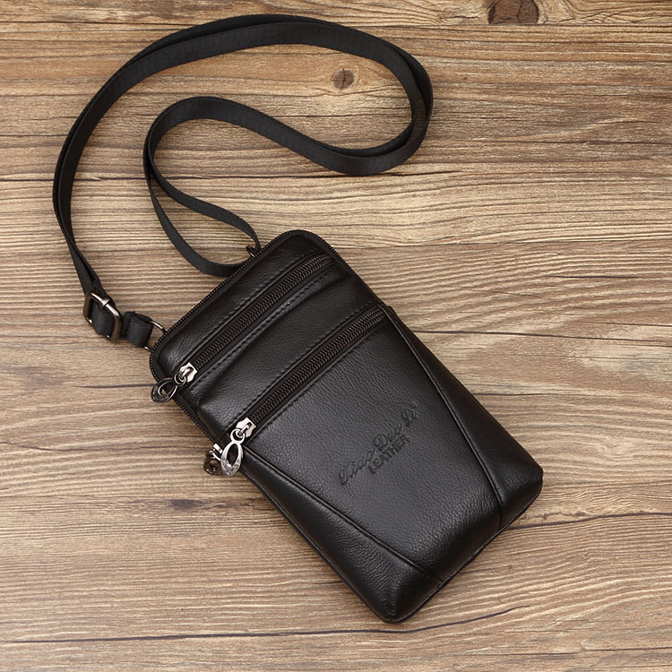 Men's 7-Inch Running Bag Bag Leather Shoulder Bag Mini Shoulder Bag Leather Mobile Phone Running Bag Wear Leather Belt