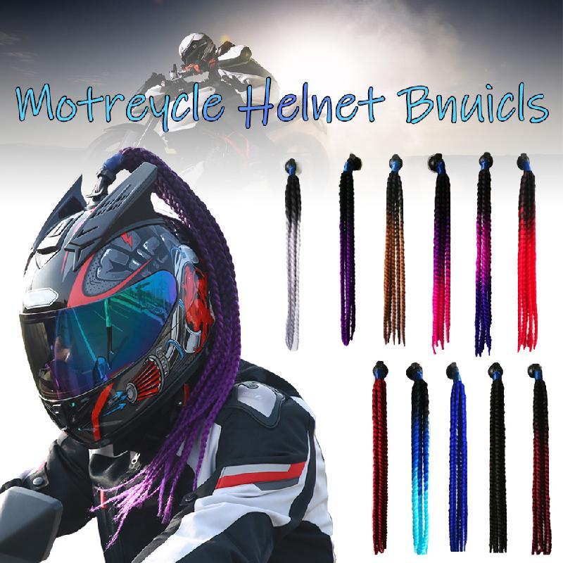 60cm Motorcycle Helmet Dreadlocks Women Helmet Dreadlocks Ponytail Braid Motocross Bicycle Helmet Punk Hair Decoration