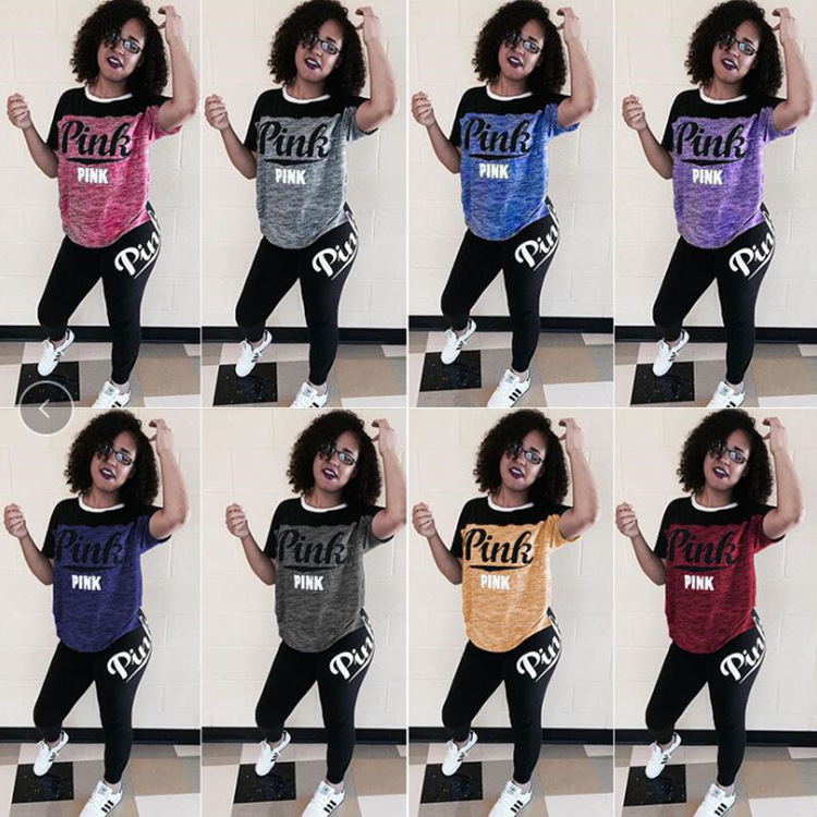 Europe And America WOMEN'S Dress 2019 Wish AliExpress Hot Selling Trendy Letters Printed Hot Selling Set Sports Clothing