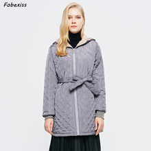 Fur Lined Winter Jacket Women Off White Belted Hooded Plus Size Long Slim Cold Coat Clothing 2019 Casual Woman Winter Jacket faux fur lined belted jacket