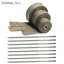5cm*5M 10M 15M Exhaust Heat Wrap Roll for Motorcycle Fiberglass Shield Tape with Stainless Ties